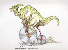 Parasaurolophus Riding a High Wheeler by she1badelf