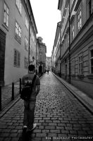 Down a Cobbled Road in Prague by wooder