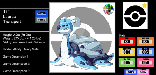 131 Lapras (Faux Reg. Form) by BLADEDGE