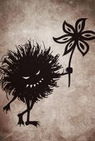 Vintage evil bug gives flower iPhone wallpaper  by azzza