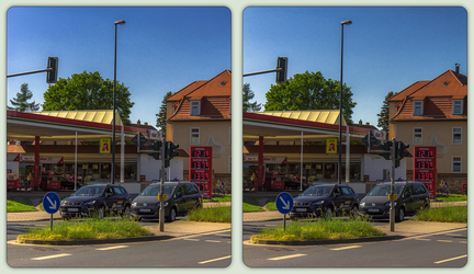 Gas station 3-D / CrossView / Stereoscopy / HDR by zour