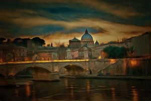 Night on the Tiber by oldhippieart