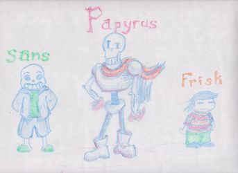 Frisk Sans and Papyrus on Denny's Placemat by NinjaObsessed