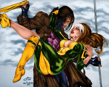 Rogue and Gambit by penichet