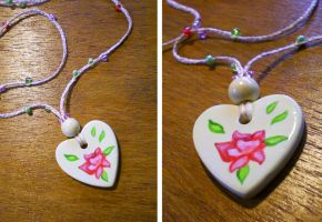 Vintage Rose Heart Necklace by mayan-art