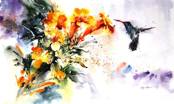 Wildlife Watercolor - Hummingbird by Abstractmusiq