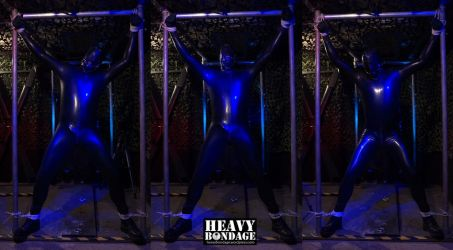 Rubbered up, tied up, left alone... by heavybondage