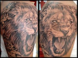 lion tattoo by mojoncio