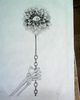 Eye Flower drawing by Infamouscatforce