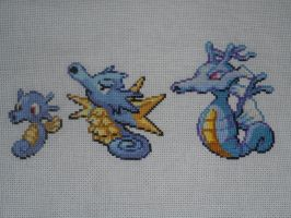 Cross-stitched Horsea Family by Midnightfables