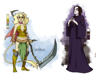 Etha and Genna - Character Design Commission by UNtethered-Studios