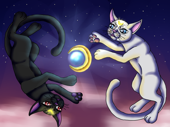 Sailor Moon - Luna and Artemis by ShedragonArtist