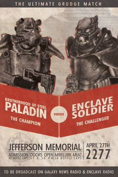 Fallout Custom Poster: BoS VS. Enclave Boxing by MattTheKid