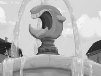 Whale fountain by GoldenThundeer