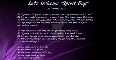 Let's Welcome 'Spirit Day' by Lyrev