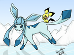 Glaceon and Pichu by MillyT