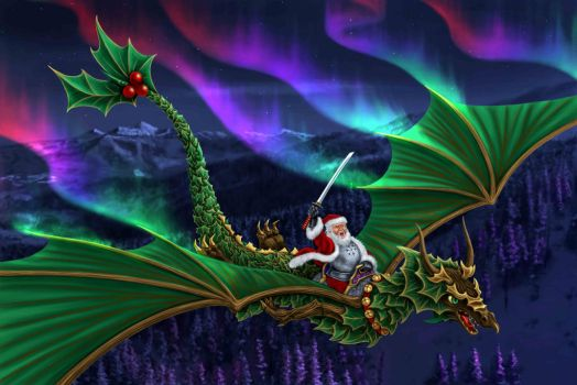 santa warrior dragon by dragynsart