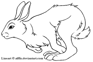 Running rabbit lineart, FREE by Alffis