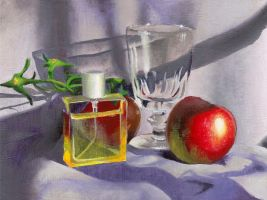 Perfume and Fruit Still Life by ChiffonSigh