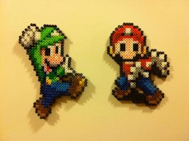 Mario and Luigi Bead Sprites by Night-TAG