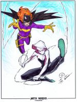 Batgirl and Spider-Gwen commission markers by JoeyVazquez