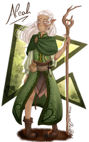 Aleah - Halfelf Druid second design by SafirasArt