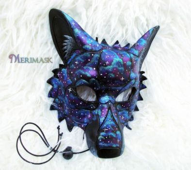 Starry Night Wolf, Leather Mask by merimask