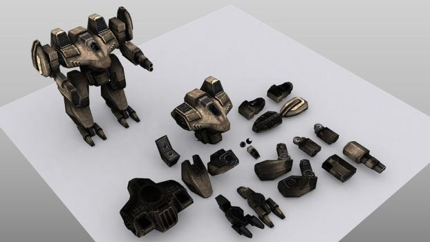 Taurus Mech Exploded View by Wolf-in-Exile