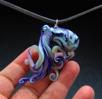 Purple and Teal polymer clay Glass-like Octopus by carmendee