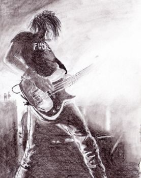 Mikey Way, semi-realistic - charcoal by LineVenie