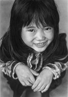 Pencil portrait of a young Black Lo Lo girl by LateStarter63