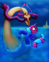 Waterdragonsnake x TechnoDuck by Nefepants