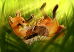 Commission #26 - The Fox and the Hare by Martith