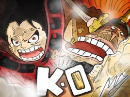 One Piece Chapter 837:Luffy vs Commander Cracker ! by Amanomoon
