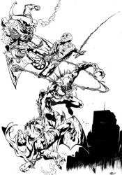 spiderman and anti venom vs the goblings by Geniss