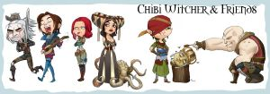 Chibi Witcher and Friends by engelszorn