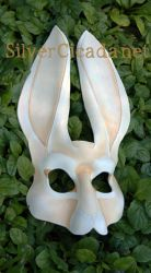 White Hare Leather Mask by SilverCicada