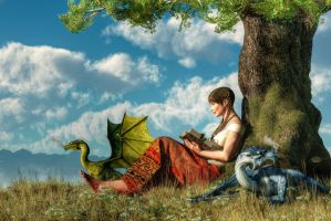 Reading About Dragons by deskridge