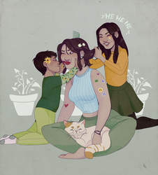 Robyn and Some Chickadees by OwlBeAwkward