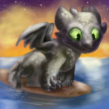 Toothless on a surfboard!  by fnaflvr247