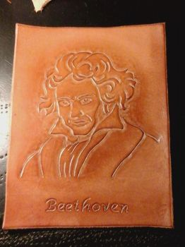 Beethoven Carved in Leather by JN-Leather