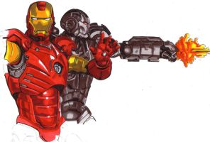 Iron man and war machine by Thestickibear