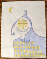 Cityscape Lady - Haiku Letter Drawing by Kyle-Lefort
