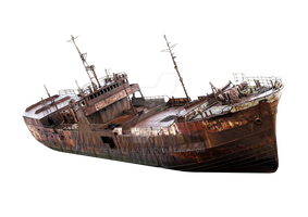The rusty old ship on a transparent background. by PRUSSIAART
