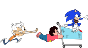 Steven, Sonic, and Lincoln shopping by Magnetic-LightPulse