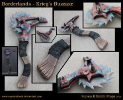 Borderlands Krieg's Buzz Axe Full Scale Cosplay by SKSProps