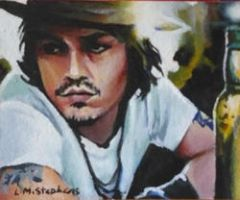 Johnny Depp acrylic ACEO by sullen-skrewt