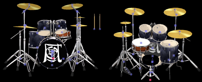 MMD Drum Set Model with bones + Chair and Stick by arisumatio