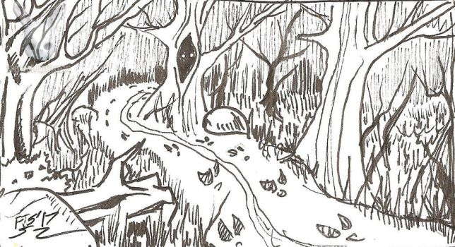 Inktober 22: Trail of tracks on the trail by DoubleDandE