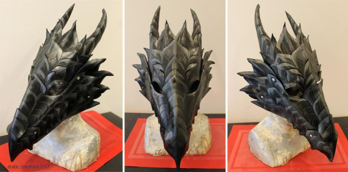 Black leather dragon mask by zarathus